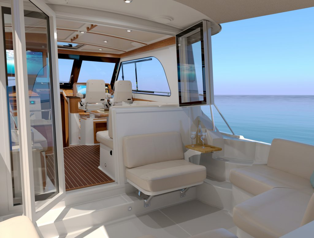 Rendering of the Back Cove 372 from the transom looking forward. Displays the cockpit arrangement with l-shaped corner seats, an aft-facing seat against the pilothouse, with the door (left - to port) and bi-fold window (right - to starboard) both open. Past the open door and window is shown a portion of the main salon and the helm.