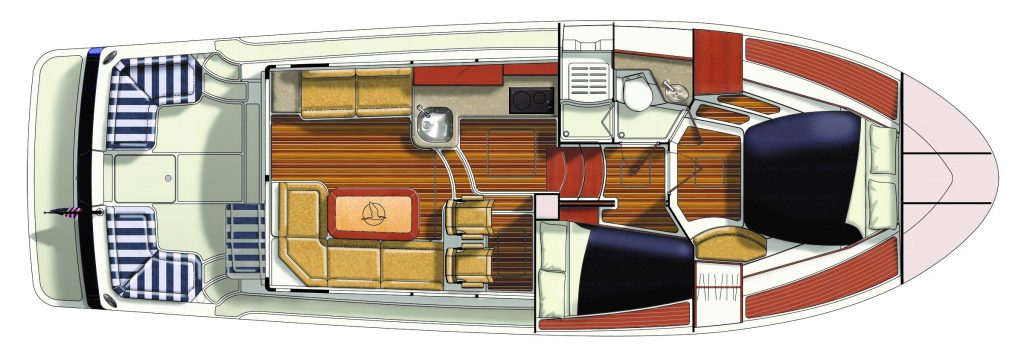 Rendering of the Back Cove 372 accommodations layout, the boat is oriented with its bow to the right and transom to the left. From left-to right, the image displays the cockpit with opposing and corner seating, the salon (inside the pilothouse)  with L-shaped settee to starboard (bottom of image) and loveseat to port (toward the top of the image). Forward of the salon is displayed the helm with dual captains chairs (port) and half-up galley (starboard). Forward of this, companionway stairs lead to the lower level, which depicts the guest cabin (starbaord) head unit (port) and master cabin (forward).