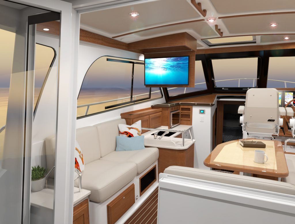Computer rendering of the Back Cove 372. Image depicts the salon arrangement as viewed from the pilothouse door, and showcases the television swinging down from the ceiling panel where it is stored.