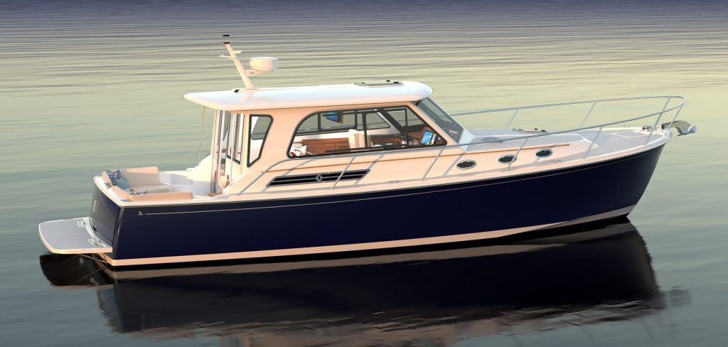 Computer rendering of the exterior profile of the Back Cove 372 - image shows a boat with a navy-blue hull pointing toward the right side of the image. The topsides are white with silver railings and deck hardware. The background is computer-rendered water.