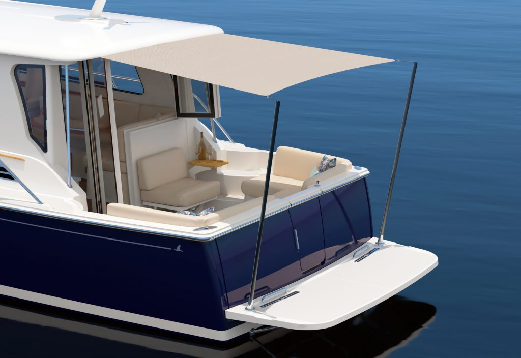 Computer rendering of the cockpit of the Back Cove 372, shown from an aft-quarter angle. The image depicts the cockpit with opposing seating it the lower half, with a shade stretching from the aft (back) end of the hardtop (roof) and extending to the swim platform where it is held up with two narrow carbon-fiber poles.  The cloth shade blocks the sun in the outdoor cockpit space.